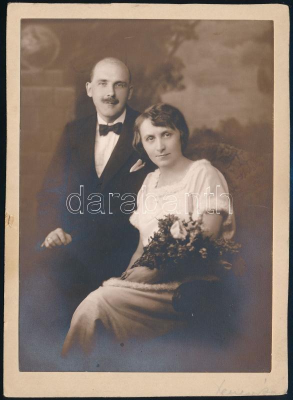 1921 Budapest, Herczegffy E. és Bojler János esküvője, feliratozott vintage fotó, 15,5x11,3 cm