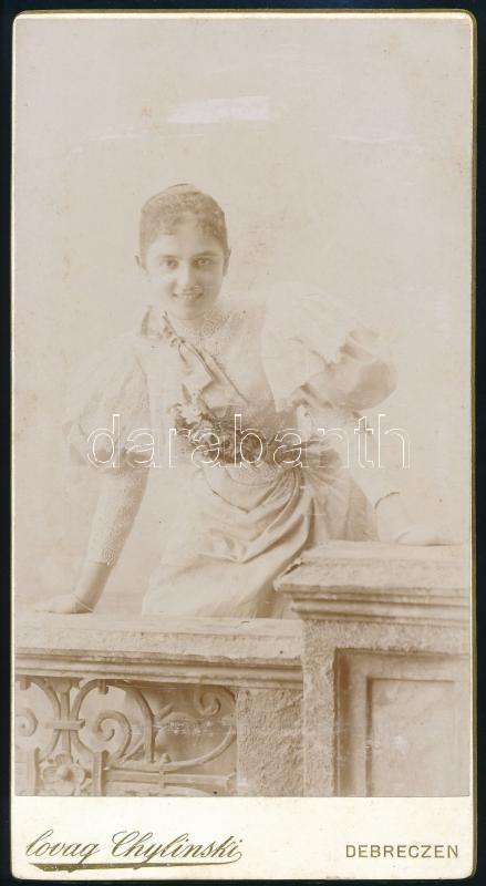 cca 1910 Debrecen, Lovag Chylinski György fényképészeti műtermében készült, keményhátú, vintage fotó, 20,3x11 cm