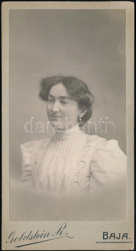 cca 1905 Baja, Goldstein R. fényképész műtermében készült, keményhátú vintage fotó, 16,5x8,6 cm
