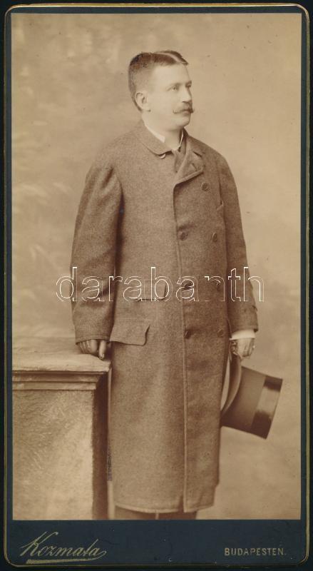 cca 1890 Budapest, Kozmata Ferencz (1864-1902) császári és királyi udvari fényképész műtermében készült, keményhátú vintage fotó, 20,6x11 cm