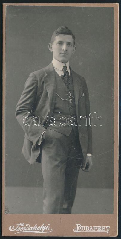 cca 1910 Budapest, Szerdahelyi fényképész műtermében készült keményhátú vintage fotó, 16,3x8 cm