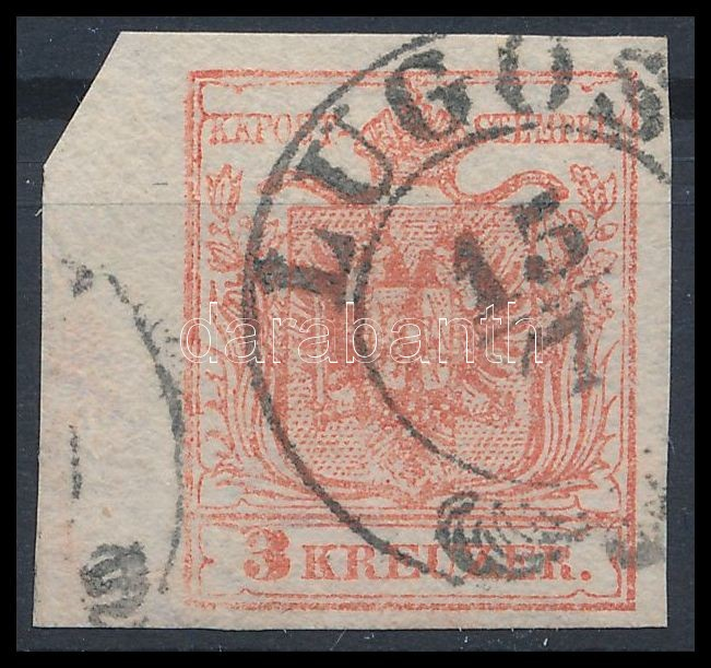 HP IIIa rose carmine, margin piece with large watermark