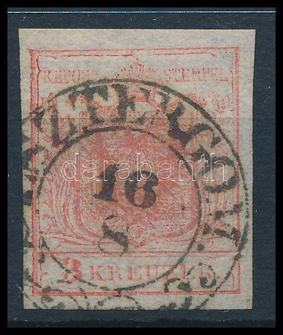 3kr HP Ib rose, dry print margin piece, with shifted highlighted middle part