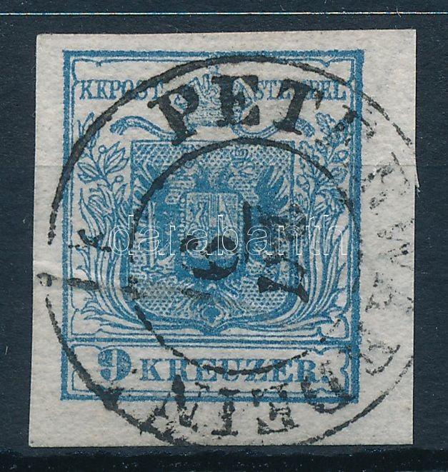 9kr HP IIb greyish blue, small margin, with paper crease