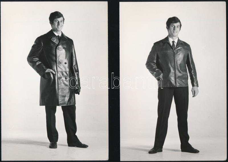 1969 Férfi divat, bőrkabátok és dzseki, 3 db vintage fotó, 17,5x11,8 cm