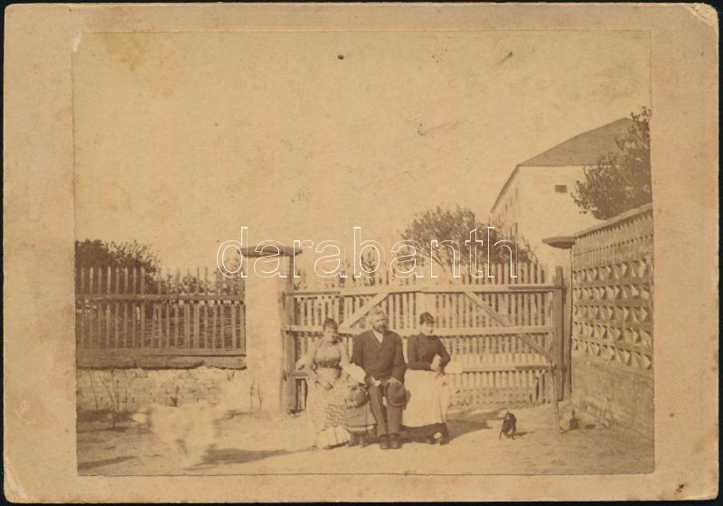 1891 Köpcsény, feliratozott, keményhátú vintage fotó, 9x13 cm