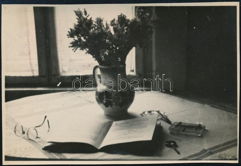 cca 1939 Thöresz Dezső (1902-1963) békéscsabai gyógyszerész és fotóművész hagyatékából, jelzés nélküli vintage fotó (Csendélet ablakkal), 6x8,8 cm