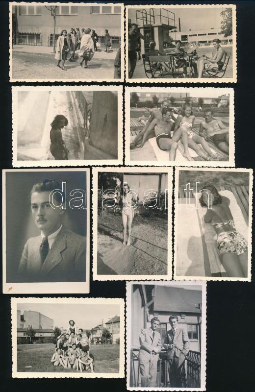 1942 Kassa, Lányi Ottó hagyatékából 9 db feliratozott, vintage fotó, köztük a fotós arcképe is, 9,5x6,7 cm és 8,5x6,1 cm között