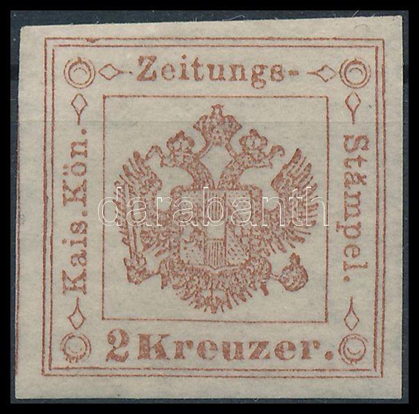 Hírlapilletékbélyeg 2kr barna Ib Certificate: Steiner, Newspaper duty stamp 2kr brown, Ib. Certificate: Steiner