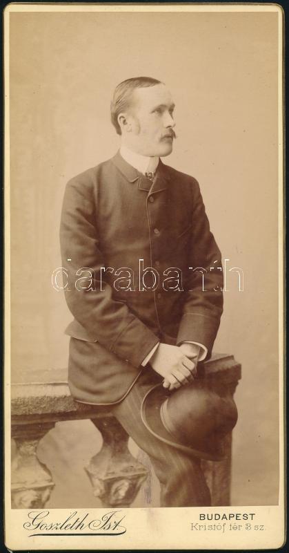 cca 1897 Budapest, Goszleth István (1850-1913) budapesti fényképész műtermében készült, keményhátú, vintage fotó, 20,5x10,5 cm