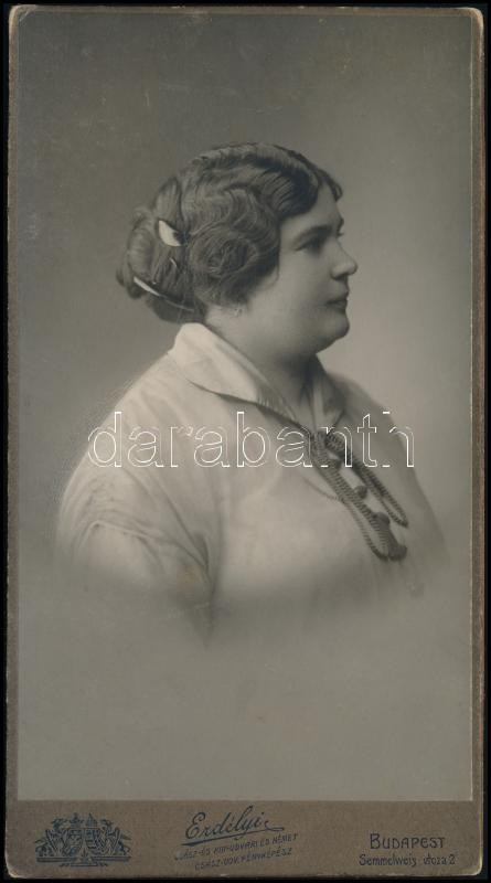 cca 1895 Budapest, Erdélyi Mór (1866-1934) császári és királyi udvari fényképész műtermében készült, keményhátú vintage fotó, 16×8,5 cm