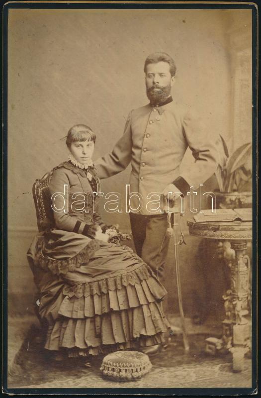 1883 Keményhátú, vintage katonai fotó feliratozva, 20,2x13 cm