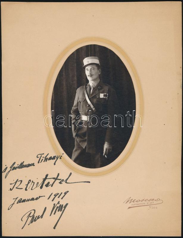 1919 Vintage katonai fotó feliratozva, 13x9 cm, karton 25x19,2 cm