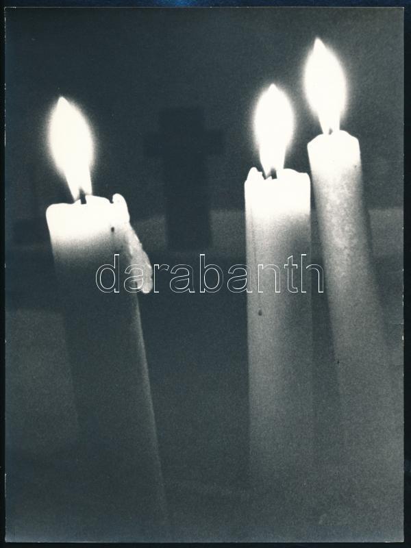 cca 1978 Osztolyka Péter: Fekete-fehér, feliratozott vintage fotóművészeti alkotás, 24x18 cm