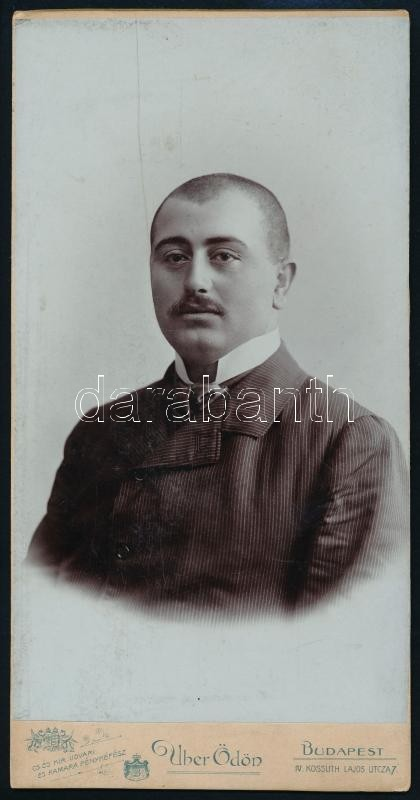 cca 1902 Budapest, Uher Ödön (1862-1931) császári és királyi udvari fényképész műtermében készült vintage fotó, 20,2x10,3 cm