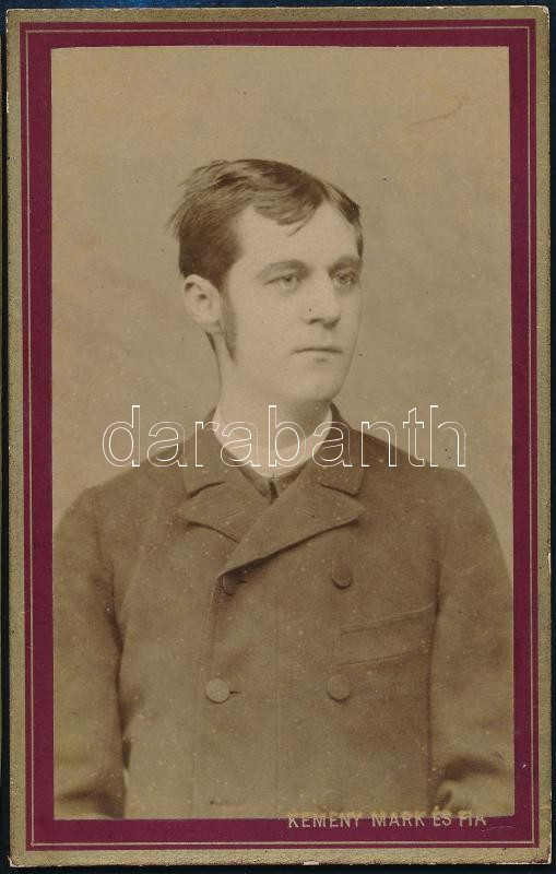 cca 1910 Ungvár, Kemény Márk és Fia fényképészek üvegtermében készült, keményhátú vintage fotó, 10,8x8,7 cm