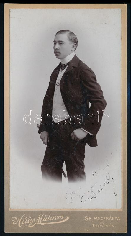 cca 1908 Selmeczbánya, a Helios fényképészeti műteremben készült, keményhátú, vintage fotó, 20,5x11 cm