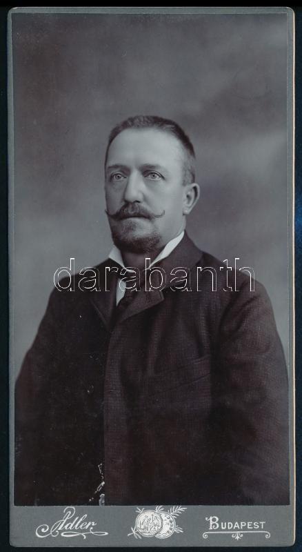 cca 1899 Budapest, Adler fényképész műtermében készült, keményhátú, vintage fotó, 20,5x10,9 cm