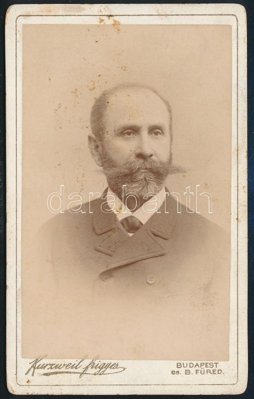 cca 1893 Budapest, Kurzweil Frigyes fényképész műtermében készült, keményhátú, vintage fotó, feliratozva, 10,8x6,5 cm