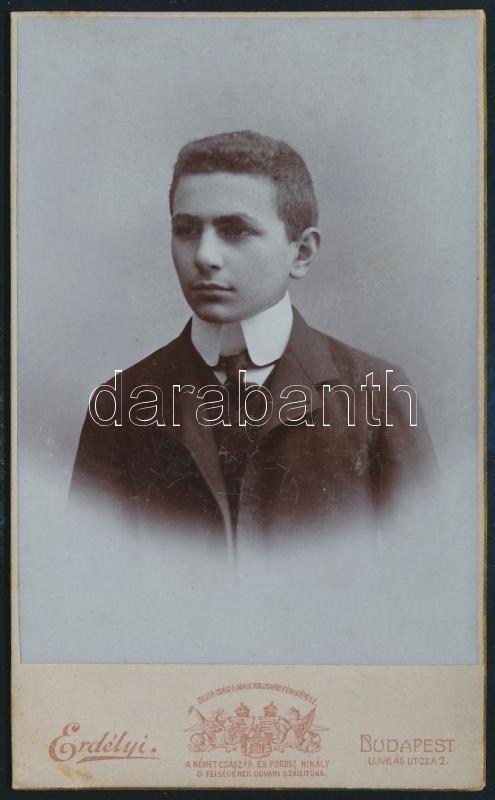 1905 Budapest, Erdélyi Mór (1866-1934) császári és királyi udvari fényképész műtermében készült, keményhátú vintage fotó, feliratozva, 11x6,6 cm