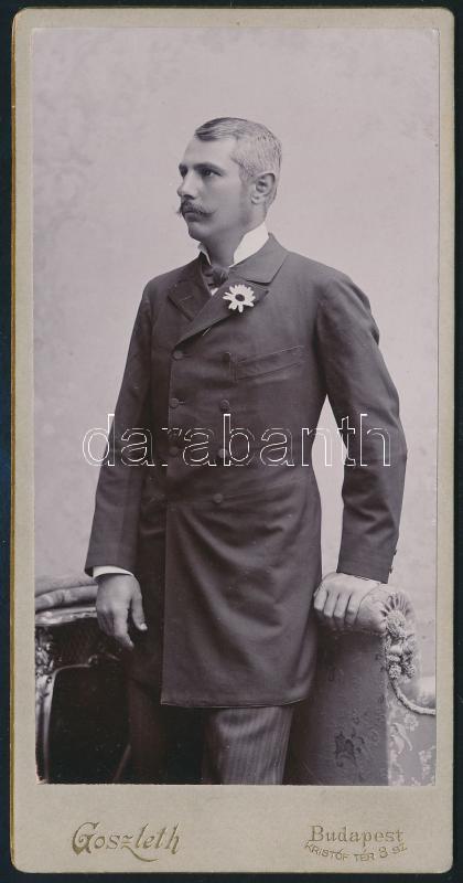 cca 1890 Budapest, Goszleth István (1850-1913) budapesti fényképész műtermében készült, keményhátú, vintage fotó, 15x7,6 cm