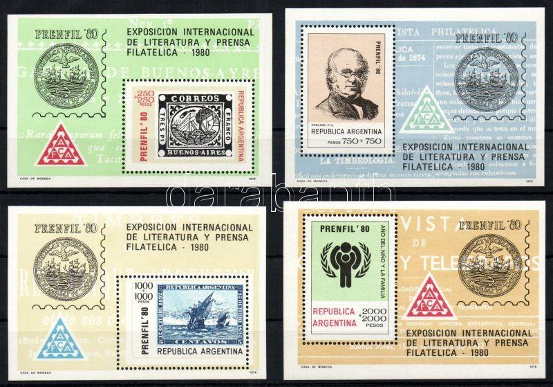 PRENFIL stamp exhibition block set, PRENFIL bélyegkiállítás blokksor, PRENFIL Briefmarkenausstellung Gesamtpreis (4 Bl.)