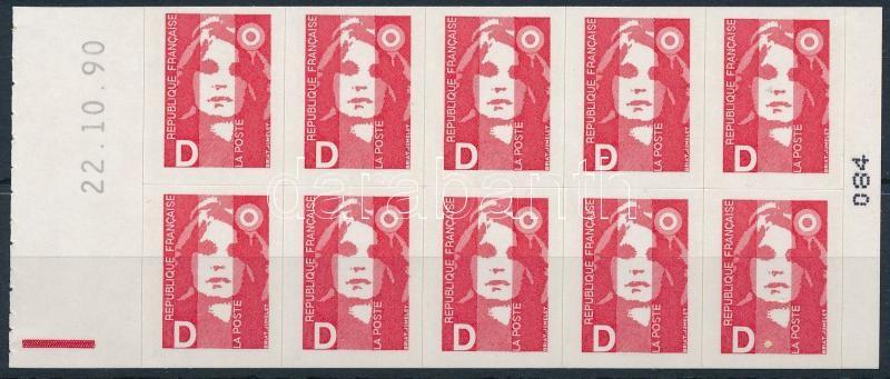Definitive stamp: Marianne stamp-booklet sheet, Forgalmi bélyeg: Marianne bélyegfüzet lap