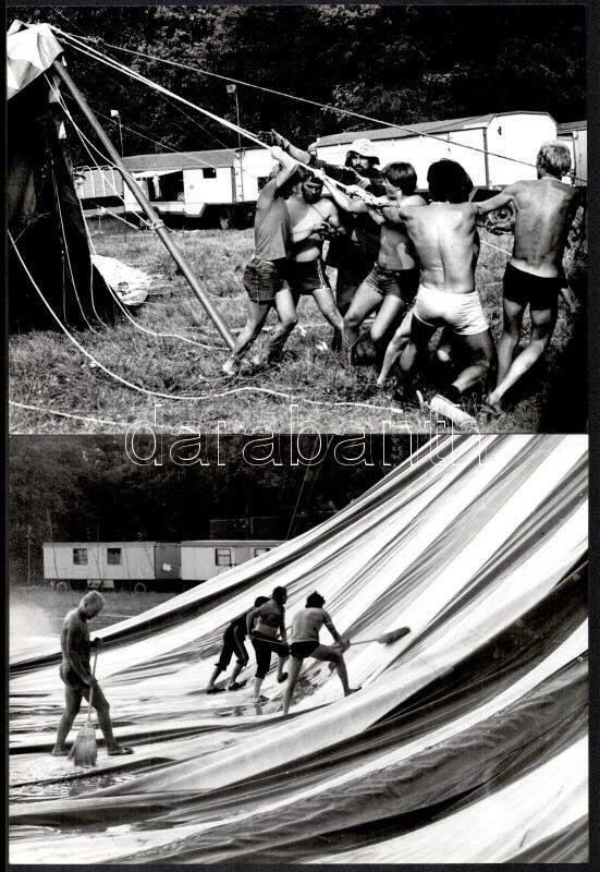 cca 1976 Vincze János (1922-1999) kecskeméti fotóművész hagyatékából 3 db vintage fotó (Sátorépítők), az egyik aláírt és feliratozott, 18x24,2 cm