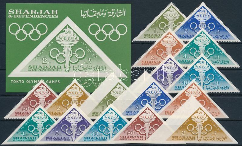 Tokio Summer Olympics perforated and imperforated set + block, Tokiói nyári olimpia fogazott és vágott sor + blokk