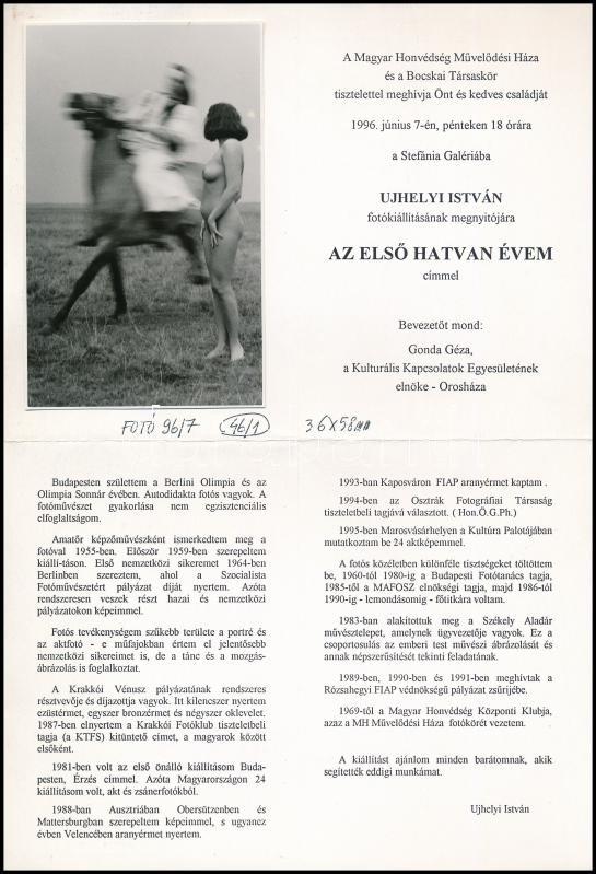 cca 1995 Ujhelyi István (1936-2003) budapesti fotóművész hagyatékából, vintage fotóművészeti alkotás a kiállítási meghívón, 13x8,2 cm