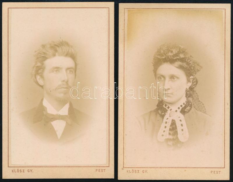 cca 1868 Pest, Klösz György (1844-1913) fényirdai műtermében készült 2 db keményhátú vintage fotó, 10,5x6,5 cm