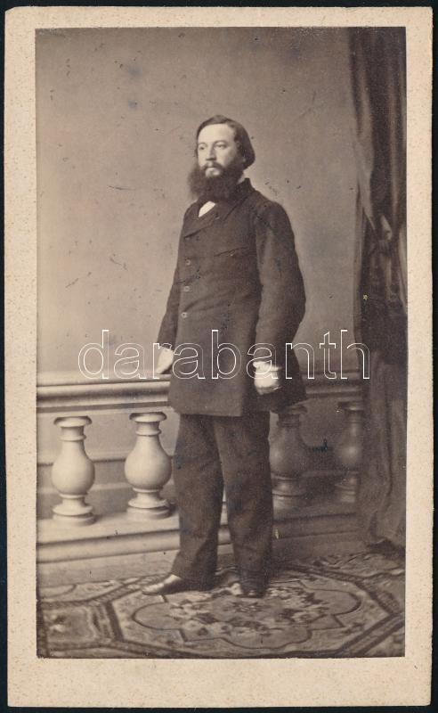 cca 1860 Prága, W. Rupp fényképész műtermében készült, keményhátú vintage fotó, feliratozva, 10,2x6,2 cm