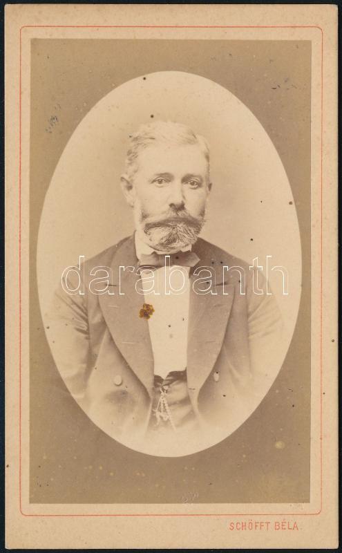 1874 Pest , Schöfft Béla fényképész műtermében készült, keményhátú vintage fotó, 10,5x6,5 cm