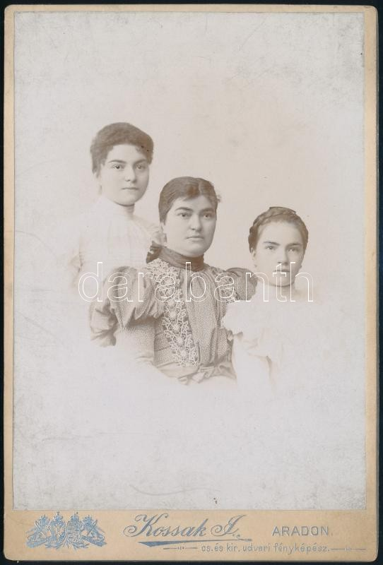 cca 1900 Arad, Kossak József császári és udvari fényképész műtermében készült, keményhátú vintage fotó, 16,2x11 cm