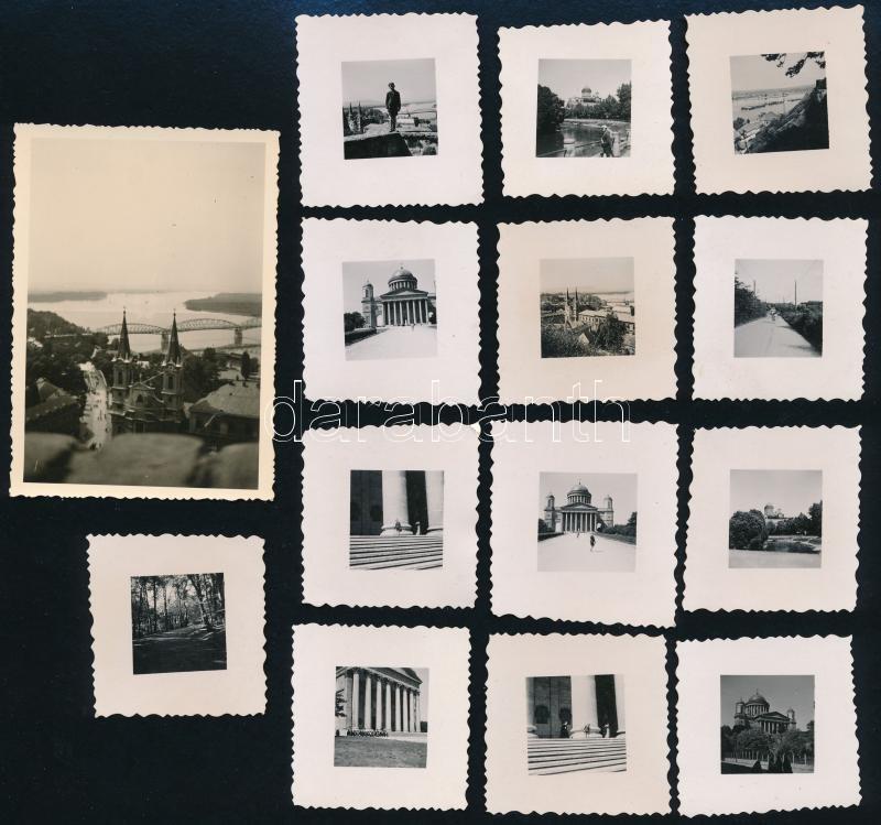 cca 1938 Esztergom, 13 db vintage fotó, 8,8x6,2 cm és 4x4,1 cm
