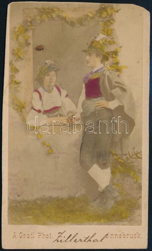 cca 1890 Innsbruck, színezett keményhátú vintage fotó A. Gratl jelzéssel és Tirol felirattal, 10,2x5,8 cm