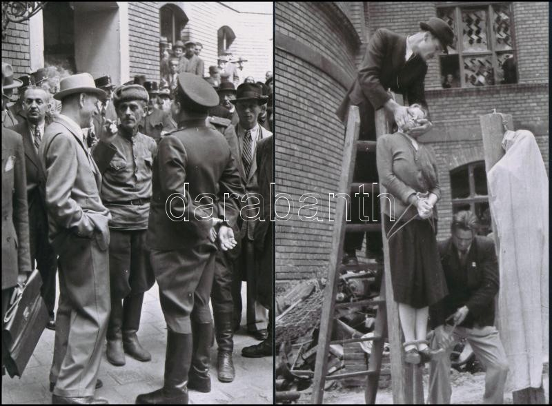 1945 Budapest, háborús bűnösök nyilvános kivégzése, Rózsa György (?-?) budapesti fotóriporter hagyatékában őrzött korabeli negatívokról készült 6 db mai  nagyítás, 15x10 cm