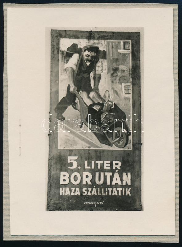 cca 1929 Kinszki Imre (1901-1945) budapesti fotóművész hagyatékából, jelzés nélküli vintage fotó (reklámtábla egy zuglói kiskocsma faláról), 8,5x6,3 cm