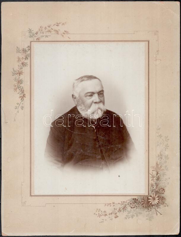 1897 Fábián Gáborról készült, feliratozott vintage fotó, 20,5x15 cm, karton (sarkán törésnyom), 31,5x24 cm