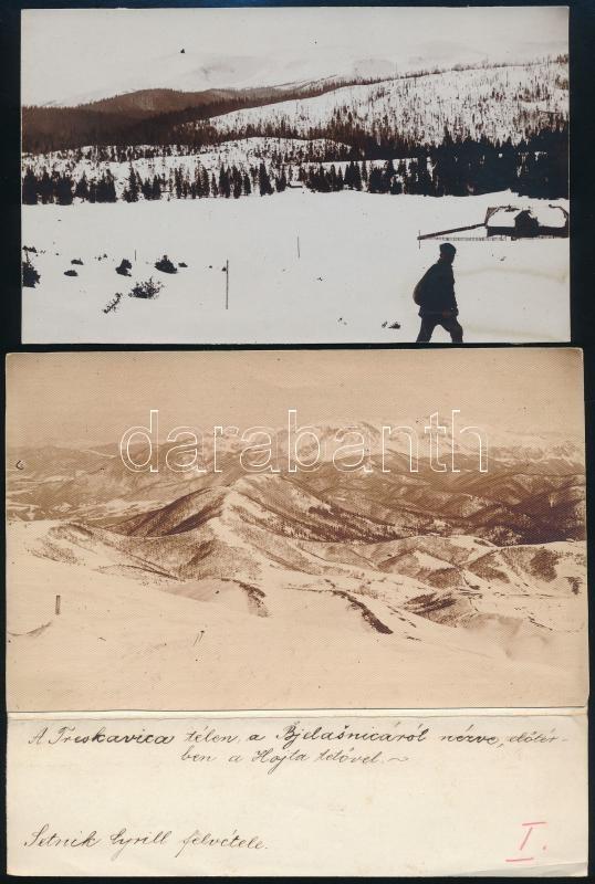 cca 1910 Setnik Cyrill felvételei, 2 db vintage fotó, az egyik feliratozva, 9,6x15,8 cm és 10,3x16,6 cm