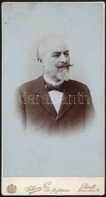 cca 1899 Pécs, Zelesny Károly (1848-1913) Ő császári és királyi fensége, József főherceg udvari fényképésze, pécsi fényképészeti műtermében készült, keményhátú vintage fotó, 20,5x11 cm