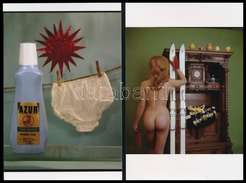 cca 1969 Síelés után bugyi mosás, 2 db reklámfotó mai nagyításban, Kotnyek Antal (1921-1990) budapesti fotóriporter hagyatékából, 15x10 cm
