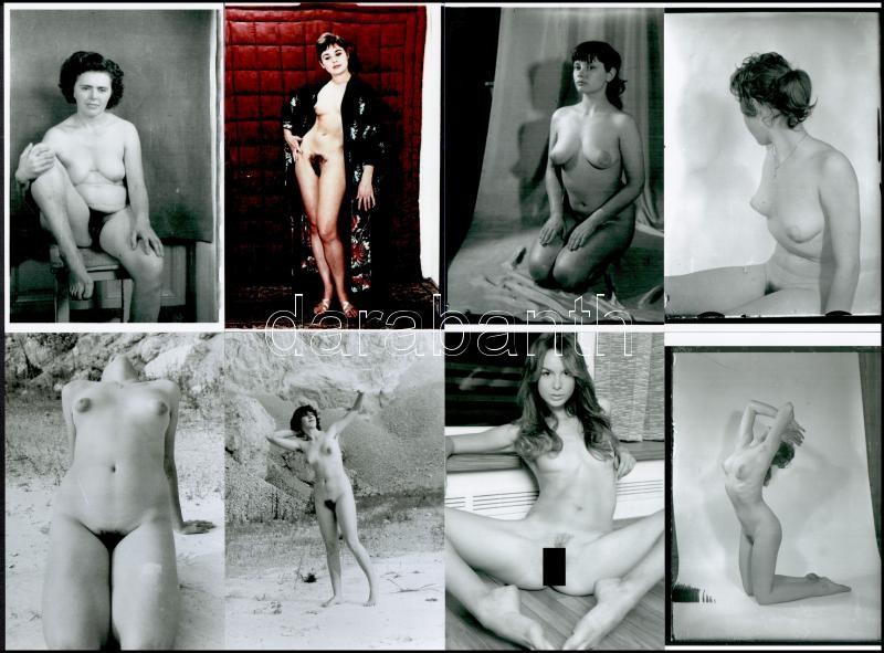 Különböző időpontokban, eltérő helyszíneken, több fotómodell közreműködésével készült 12 db szolidan erotikus fotó, mai nagyítások, 15x10 cm