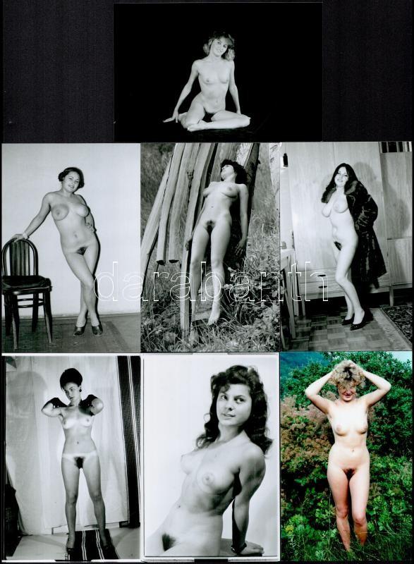 Különböző időpontokban, eltérő helyszíneken, több fotómodell közreműködésével készült 7 db szolidan erotikus fotó, mai nagyítások, 15x10 cm