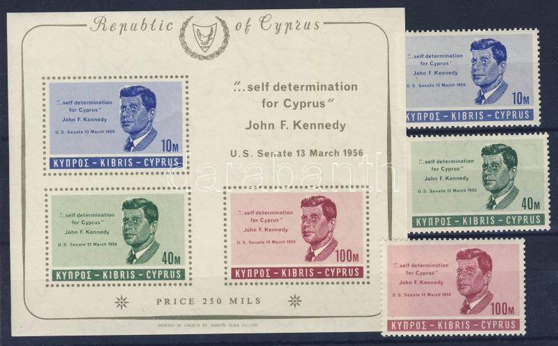 Anniversary of John F. Kennedy's death set + imperforated block with printed perforation, John F. Kennedy halálának évfordulója sor + vágott blokk nyomtatott fogazással, 1. Todestag von John F. Kennedy Satz + ungezähnter Block mit gedruckter Zähnung