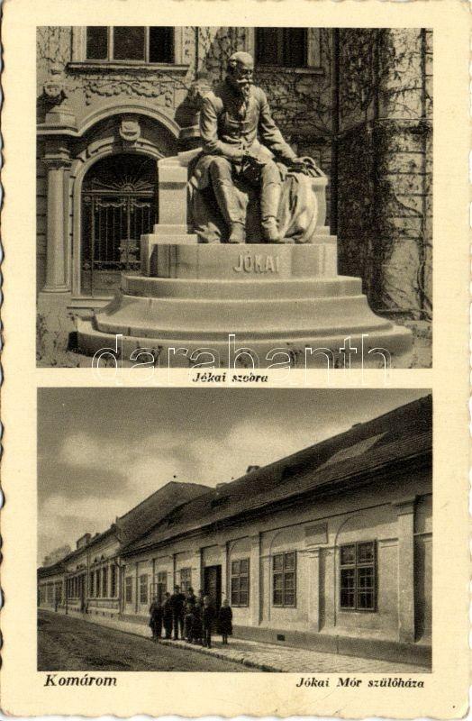Komarno, Jókai statue and Jókai birth house, Komárom, Jókai szobor, Jókai szülőháza