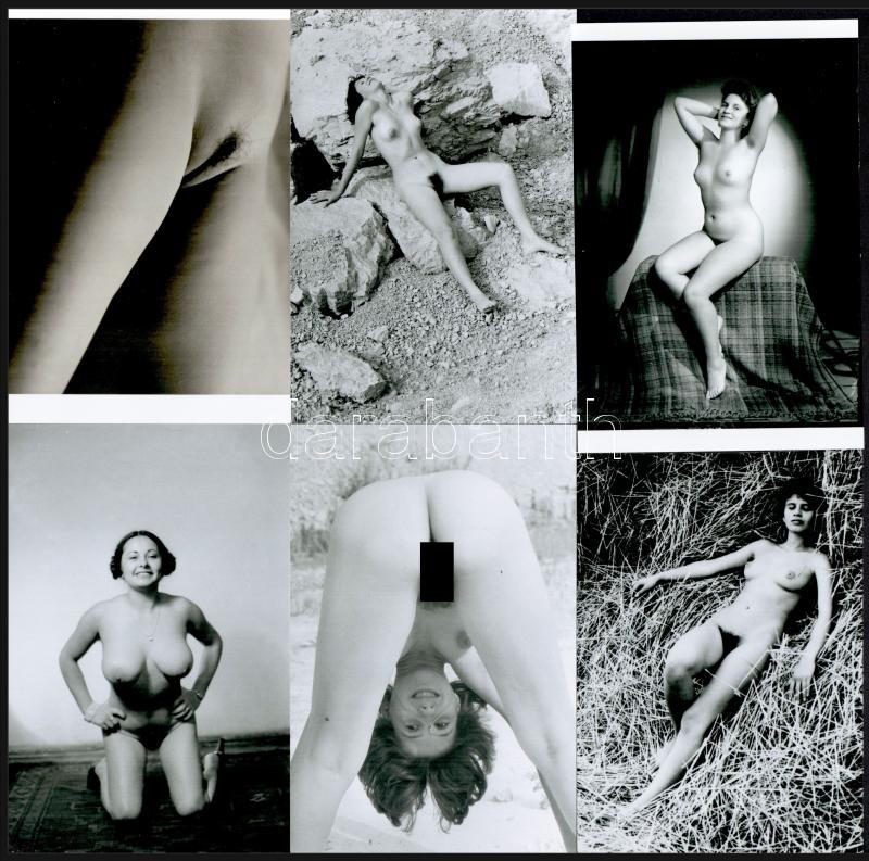 A csáberők közös eredője; szolidan erotikus felvételek; 5 db fotó mai nagyításban, 10x15 cm