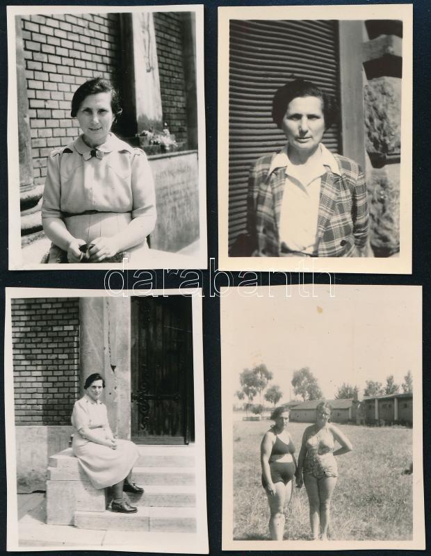 1948 Kinszki Imréné különböző helyszíneken, vélhetően Kinszki Judit felvételei, feliratozva, 4 db vintage fotó, 6x4,5 cm