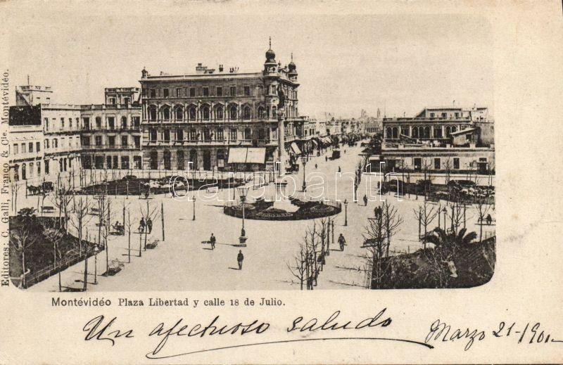 Montevideo, Plaza Libertad, Calle 18 de Julio / square, street