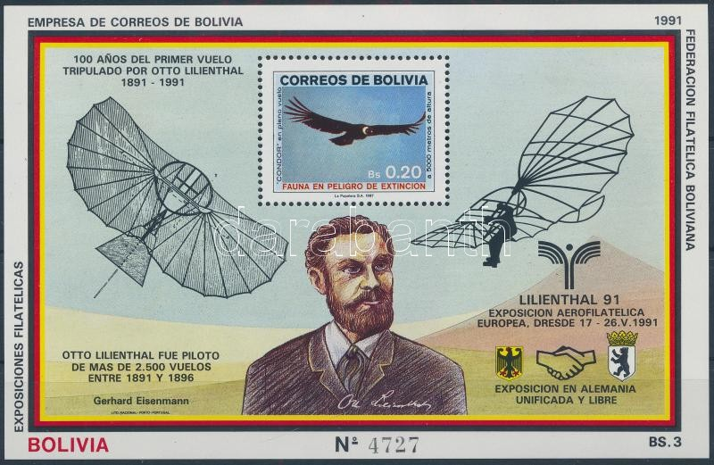 Stamp exhibition LILIENTHAL '91 block, Bélyegkiállítás LILIENTHAL '91 blokk